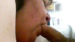 My fat aged white slutty wife giving me oral-service on web camera