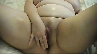 Chubby white cheating wife rams her love tunnel with a sextoy