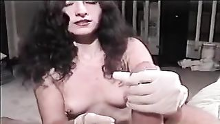 Brunette slutwife wears latex glovesand gives me cook jerking on POV tape