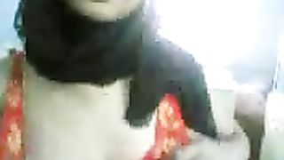 Curvy Arab girlfriend in sexy hijab blows me and positions on web camera