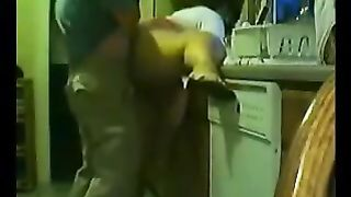 big beautiful woman Indian mama receives drilled doggy style in the kitchen