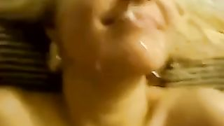 Busty hawt golden-haired slutty wife stretched her mouth to tease me