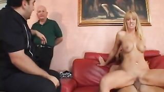 Well-endowed golden-haired receives drilled hard in awesome voyeur clip