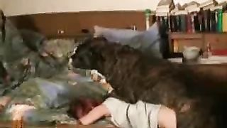 Wild redhead honey tries fucking with a Pit bull