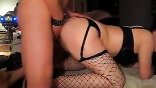 Slut white women in fishnet nylons acquires drilled doggy position super hard