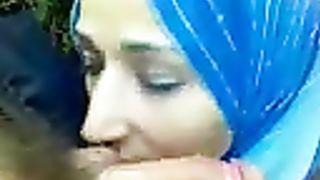 Beautiful Arab housewife passionately sucks my bushy Arab jock