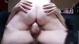 Lustful horny white wife with bulky a-hole is really into having sex in cowgirl position