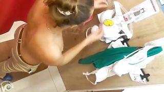 Dressing room spy films a slutty wife trying on bras