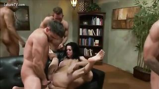 Hardcore gangbang for this schlong hungry doxy