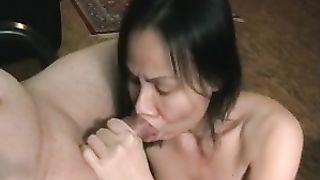 Asian dark brown milf dirty slut wife gives professional oral sex