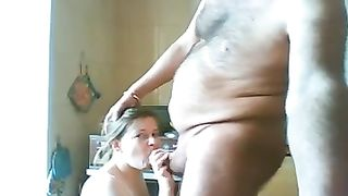 My bulky Turkish amateur wife in the morning gives me oral-job