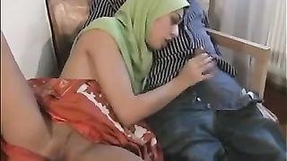 My Arab sweetheart wears scarf on her head but blows shlong like a wild doxy