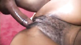 Restless ebon hoe with unshaved cooter group-fucked on the daybed