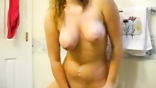 Horny golden-haired haired wench with priceless shape masturbates