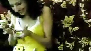 Lascivious brunette Arab amateur wife smokes a cigarette wearing mini petticoat