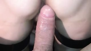 Close up leaking a pussy by his largest thick pecker