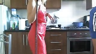 Sexy bare wife wearing solely apron touches her boyfriend's schlong