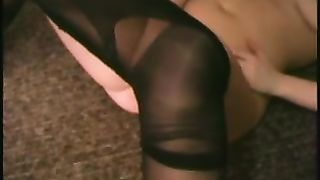 Chubby golden-haired girl in dark hose is plan to play with a fake penis