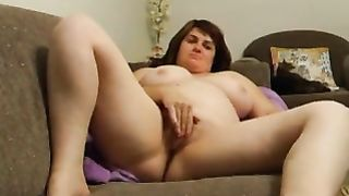 My sexually excited corpulent girl can't live without to finger fuck her pussy on camera