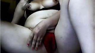 Desperate dirty slut wife with petite boobs masturbates for me on webcam