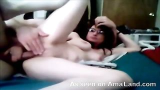 Pleasing my nice-looking hotwife truly well and this babe watches herself on the screen
