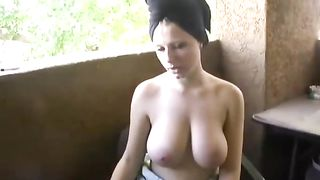 Horny and lascivious slut with biggest mambos smokes the cigarette