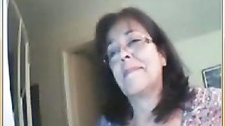 Amateur older brunette hair slutty wife on webcam flashes her tits