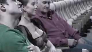 Strangers Grope SLUTTY WIFE Big Tits At Adult Theater