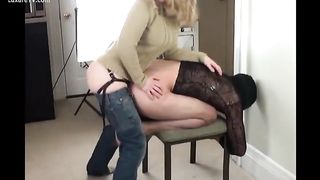 Fucking Husband with a big strap on or Femdom wife fucks hubbys ass with huge strapon