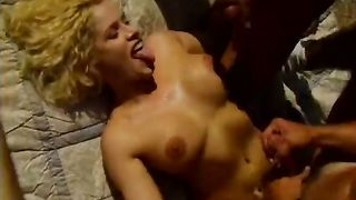 Filthy light-haired slut receives hardcore fucked by 3 bastards