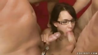 Four eyed doxy takes part in insane team fuck adventure