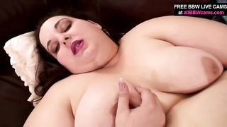 Hefty big beautiful woman mom drills her soaked cunt with rubbed sex-toy