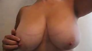 Extra breasty mother I'd like to fuck slutty wife of mine squeezes cucumber betwixt her milk sacks