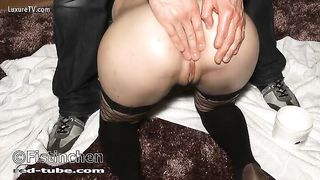 Anal insertion - black cock sluts takes wine bottle and fisting
