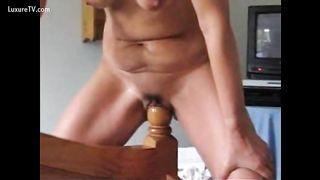 Horny aged black cock slut copulates a furniture