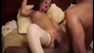 Bossy white whore with large rack takes BBC for a snatch ride