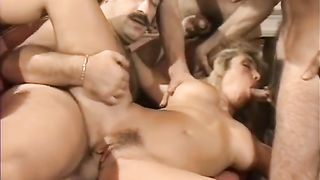 Brazen hussy acquires drilled brutally in hardcore group sex session