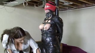 Submissive woman beaten, gagged and screwed by his dominant-bitch