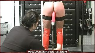 Fucked with a red fake penis