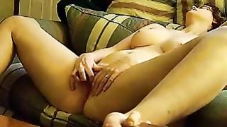 My breasty brunette hair dirty slut wife widens legs to finger her pussy in front of me