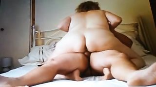 Horn-mad corpulent perverted wifey of my neighbour rides my buddy on top