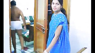 Beautiful Indian wifey in saree teased by her aged hubby