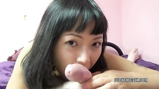 Skanky and small Asian cheating wife sucks small white dick