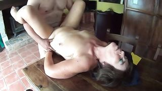 Chubby kinky emotional amateur wife of my buddy likes fucking on table