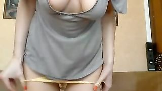Horny leggy housewife with unsightly face masturbated her wet crack for me