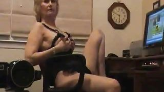 Horny blonde can't stop touching herself while talking dirty to people online