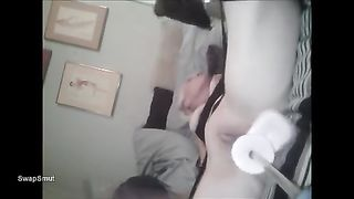 HOT BITCH DPed by machine and 10-Pounder multiple orgasms