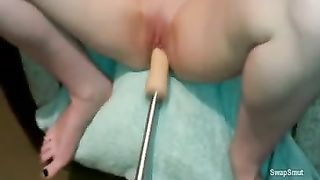 Girlfriend exposed on chair being drilled by her sex machine