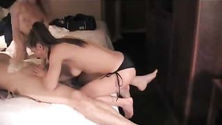 Two young cuties toy and peg a dude's asshole with strapons