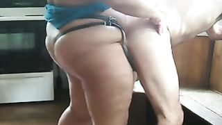 Fat wife strapon fucks hubby in the ass on live camera